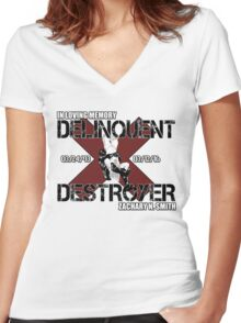 Delinquent Destroyer Tribute Shirt 1 [Square Design] Women's Fitted V-Neck T-Shirt