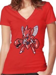 Scizor Retro Women's Fitted V-Neck T-Shirt