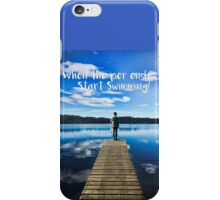 Crystal Blue Lake Pier and Person Swimming iPhone Case/Skin