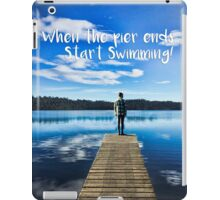 Crystal Blue Lake Pier and Person Swimming iPad Case/Skin