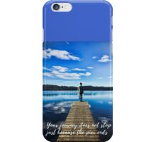 Crystal Blue Lake Pier and Person Journey iPhone Case/Skin