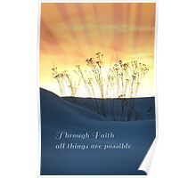 Orange Sky with Rays and Blue Dunes Faith Poster