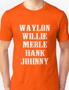THE ORIGINAL Waylon Jennings Merle Haggard Willie Nelson Hank Williams Johnny Cash Country Legend T-Shirt
