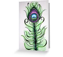 Whimsical Peacock Feather Greeting Card