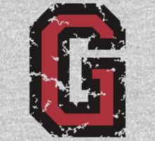 Letter G (Distressed) two-color black/red character Kids Tee
