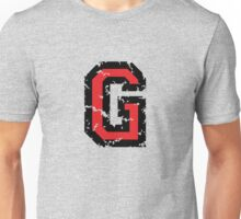 Letter G (Distressed) two-color black/red character Unisex T-Shirt