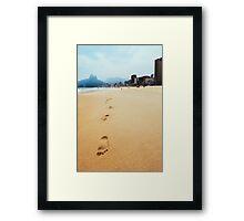 Footprints in Sand on Ipanema Beach in Rio de Janeiro Brazil Framed Print