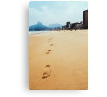 Footprints in Sand on Ipanema Beach in Rio de Janeiro Brazil Canvas Print