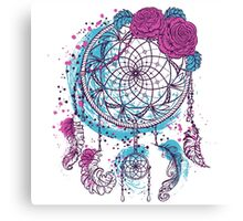 Dream catcher with ornament and roses Canvas Print