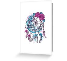 Dream catcher with ornament and roses Greeting Card
