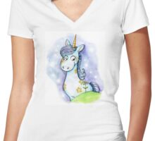Little unicorn Women's Fitted V-Neck T-Shirt