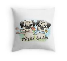 Lovely pugs Throw Pillow