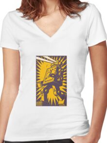 Purple Robot Women's Fitted V-Neck T-Shirt