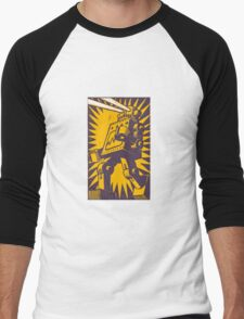 Purple Robot Men's Baseball ¾ T-Shirt