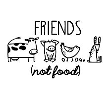 Animal Rights Rescue Friends Not Food Photographic Print