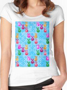Easter Celebration in Batik style, Bunny Egg pattern Women's Fitted Scoop T-Shirt