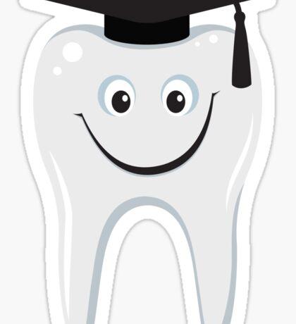 Happy wisdom tooth with mortarboard sticker Sticker