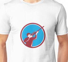 Hunter Shooting Up Rifle Circle Retro Unisex T-Shirt