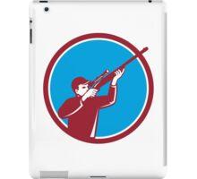 Hunter Shooting Up Rifle Circle Retro iPad Case/Skin