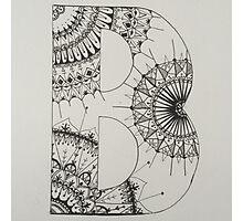 Letter B mandala pattern Photographic Print