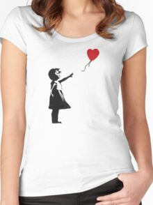Banksy - Girl with Balloon Women's Fitted Scoop T-Shirt