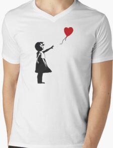Banksy - Girl with Balloon Mens V-Neck T-Shirt