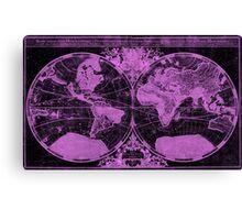 World Map (1691) Black & Pink Canvas Print