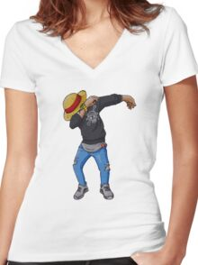 Luffy Dab Women's Fitted V-Neck T-Shirt