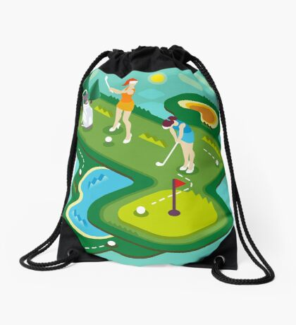Golf Match Women Drawstring Bag