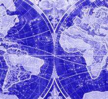 World Map (1691) Blue & White Sticker