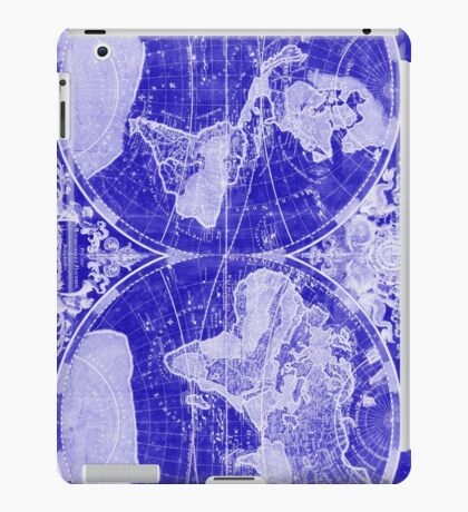 World Map (1691) Blue & White iPad Case/Skin