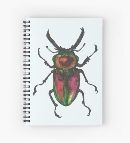Golden Green Stag Beetle Spiral Notebook