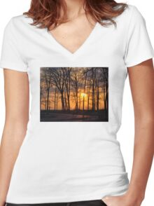 Sunset At Presque Isle - Erie, PA Women's Fitted V-Neck T-Shirt
