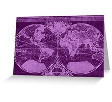 World Map (1691) Dark Purple & Light Purple Greeting Card