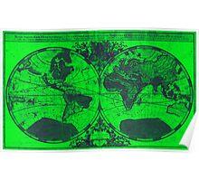World Map (1691) Green & Blue  Poster