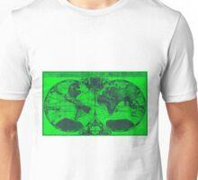 World Map (1691) Green & Blue  Unisex T-Shirt