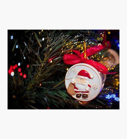 Christmas ornaments Santa on the Christmas tree Photographic Print