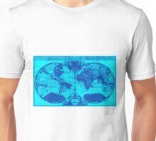 World Map (1691) Light Blue & Blue Unisex T-Shirt