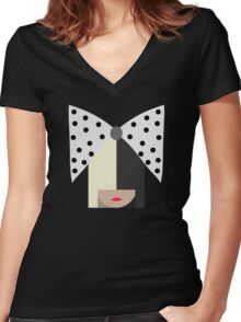 Sia (Black) Women's Fitted V-Neck T-Shirt