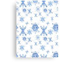 Watercolor Blue Snowflakes Canvas Print
