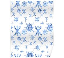 Watercolor Blue Snowflakes Poster