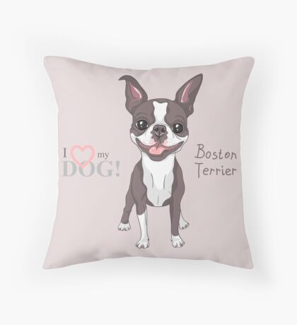 Smiling dog Boston Terrier  Throw Pillow