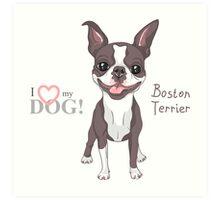 Smiling dog Boston Terrier  Art Print