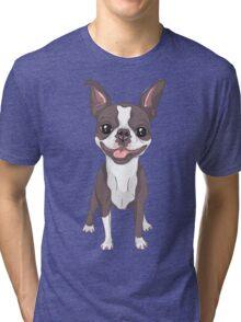 Smiling dog Boston Terrier  Tri-blend T-Shirt
