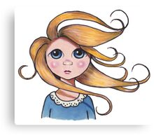 Big-Eyed Girl on Windy Day #2, Whimsical Art Canvas Print