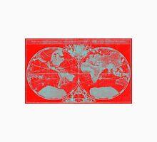 World Map (1691) Red & Light Blue Unisex T-Shirt
