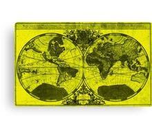 World Map (1691) Yellow & Black  Canvas Print