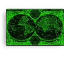 World Map (1730) Black & Green Canvas Print