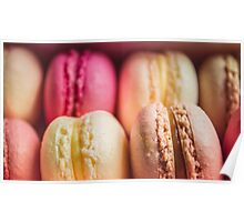 Colourful sweet tasty macaroons in a row Poster