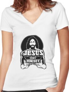 Jesus Is My Homeboy Women's Fitted V-Neck T-Shirt